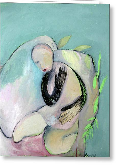 Knelt Mixed Media Greeting Cards - Embrace Greeting Card by Brooke Wandall