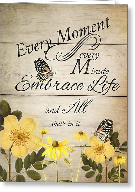 Greeting Card featuring the digital art Embrace Life by Robin-Lee Vieira