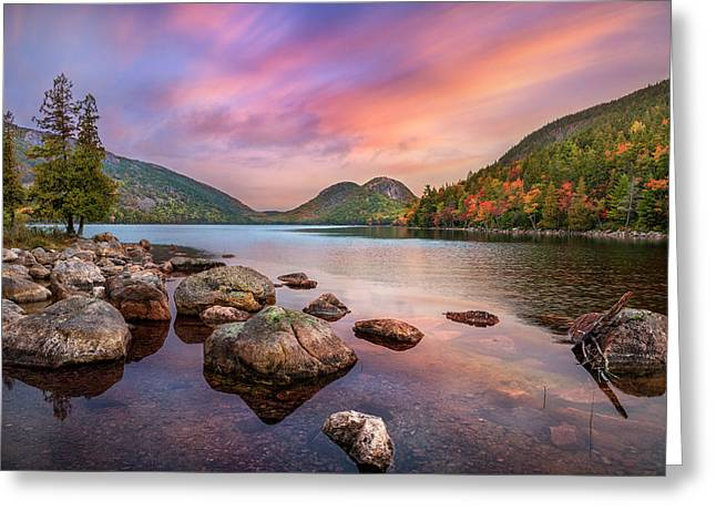 Embrace The Moment - Jordan Pond Sunrise Greeting Card by Thomas Schoeller
