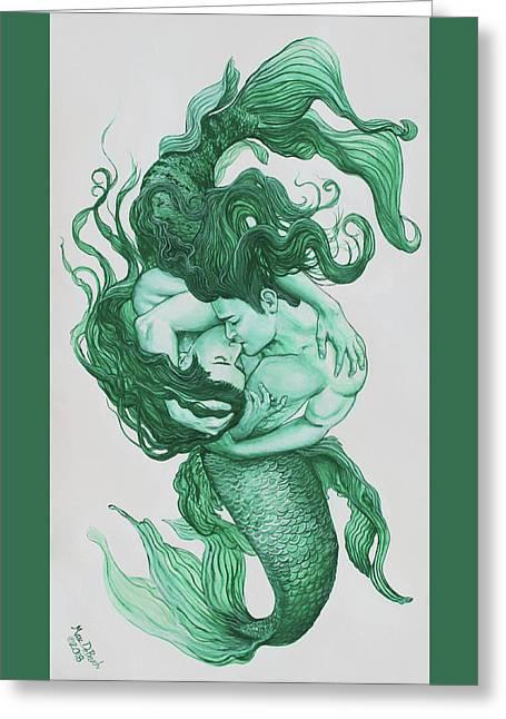 Embracing Mermen Greeting Card