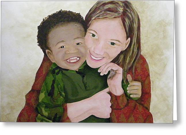 Biracial Greeting Cards - Embracing Our Differences...Love the Children Greeting Card by Terry Honstead