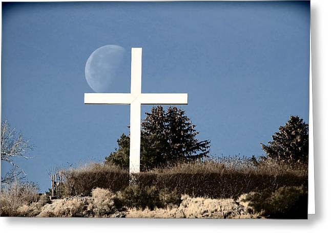 Embracing The Moon Greeting Card by Donna Kennedy