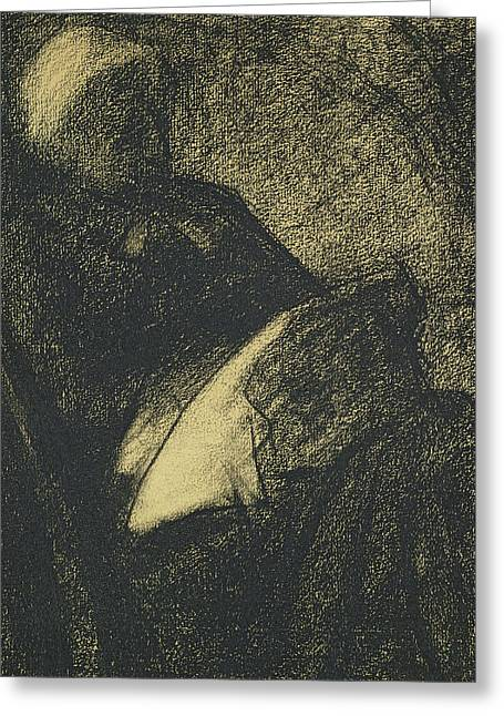 Embroiderer Greeting Card by Georges Pierre Seurat