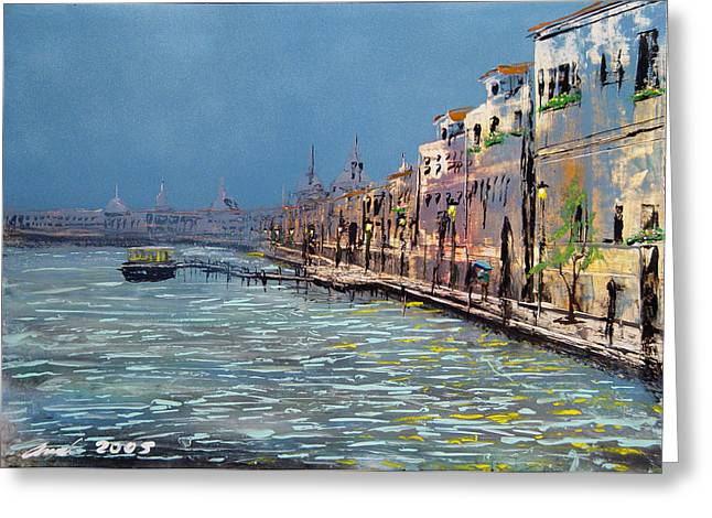 Embrumado Venice Greeting Card by Angel Ortiz
