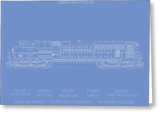 Emd Sd70ace Up 4141 Tribute To President George Herbert Walker Bush Greeting Card