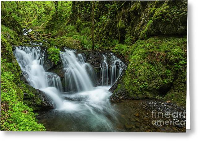 Emeral Falls Waterscape Art By Kaylyn Franks Greeting Card