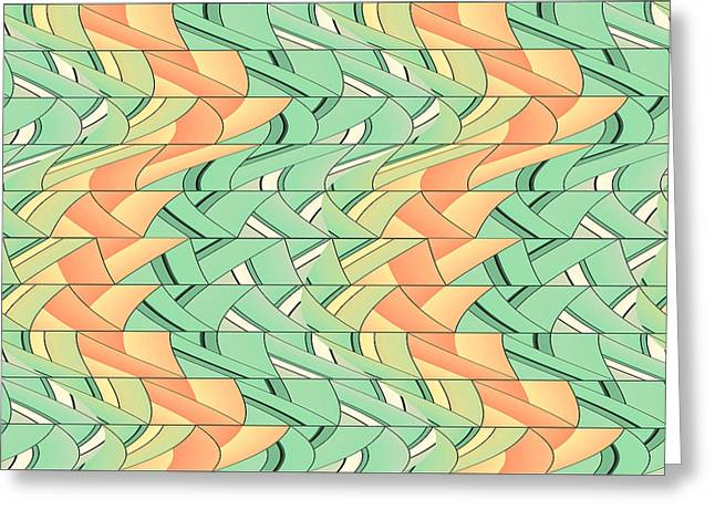 Emerald And Salmon Pattern Greeting Card