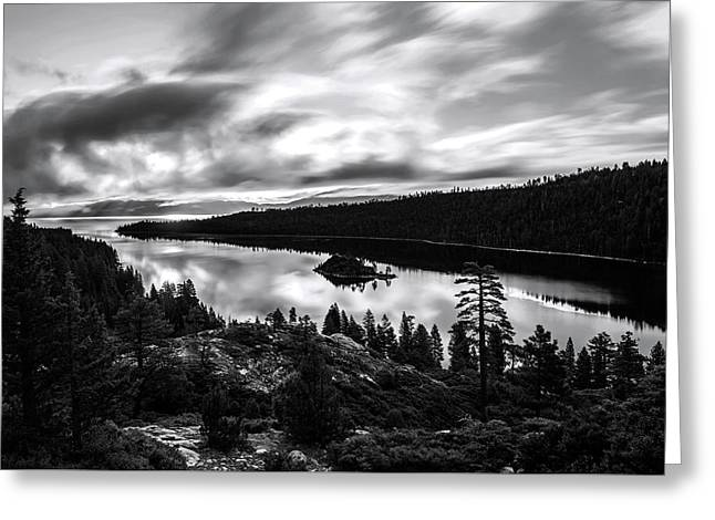 Greeting Card featuring the photograph Emerald Bay Black And White by Brad Scott