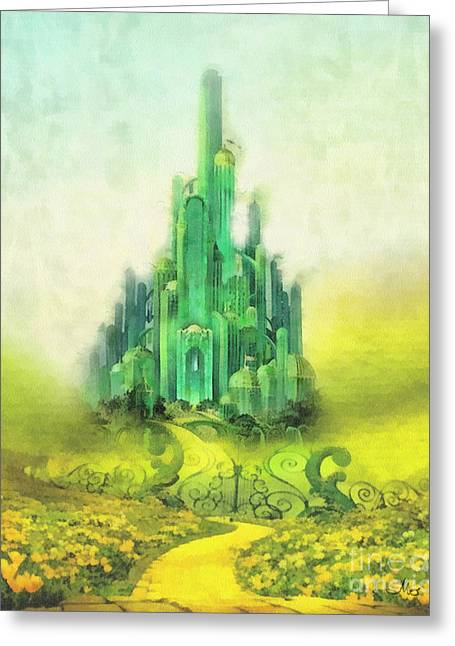 Fairytale Greeting Cards - Emerald City Greeting Card by Mo T