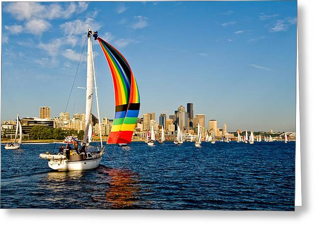 Emerald City Sail Greeting Card by Tom Dowd