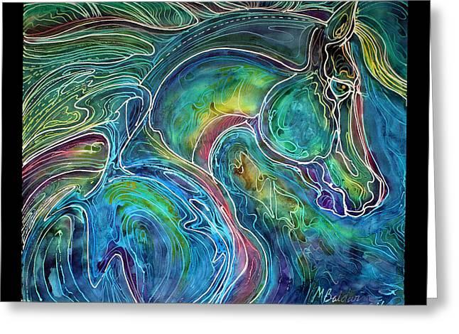 Emerald Eye Equine Abstract Batik Greeting Card by Marcia Baldwin