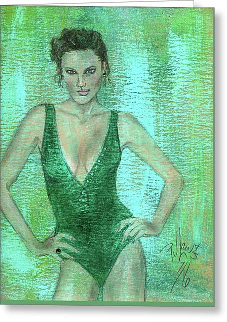 Greeting Card featuring the painting Emerald Greem by P J Lewis