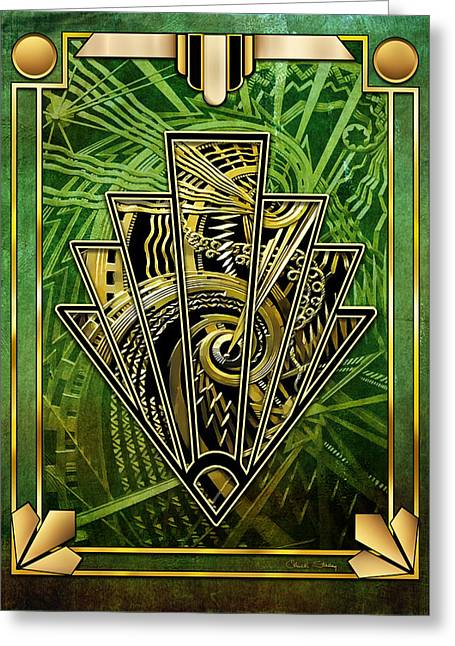 Greeting Card featuring the digital art Emerald Green And Gold by Chuck Staley