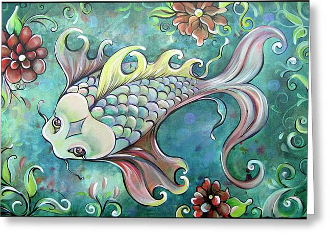 Emerald Koi Greeting Card by Shadia Derbyshire