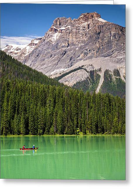 Greeting Card featuring the photograph Emerald Lake Canoe by Mark Mille