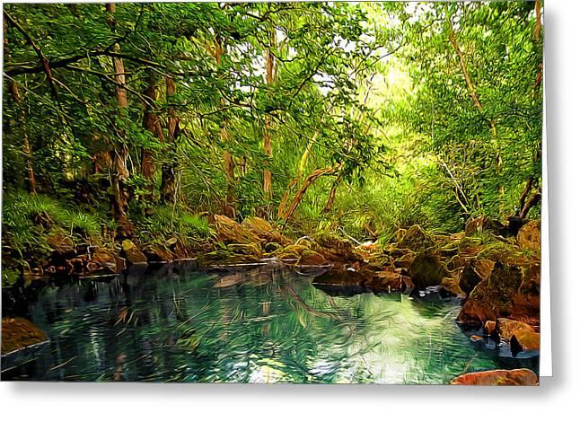 Emerald Lake Greeting Card by Svetlana Sewell