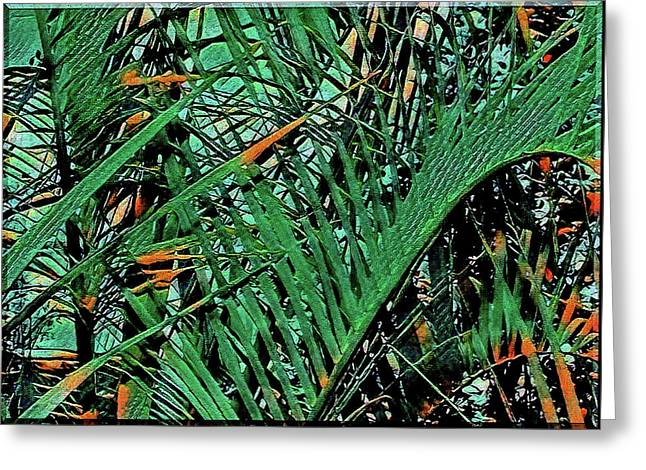 Greeting Card featuring the digital art Emerald Palms by Mindy Newman