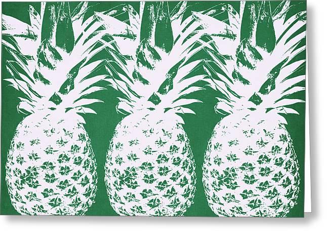 Emerald Pineapples- Art By Linda Woods Greeting Card