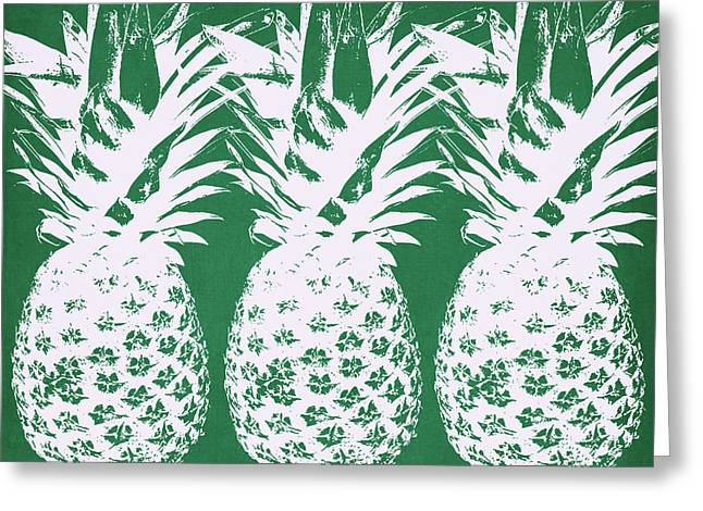 Greeting Card featuring the mixed media Emerald Pineapples- Art By Linda Woods by Linda Woods