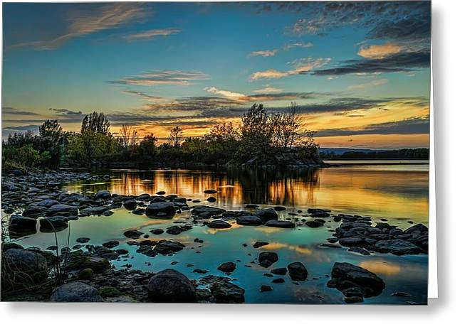 Emerald Sky Reflection Greeting Card