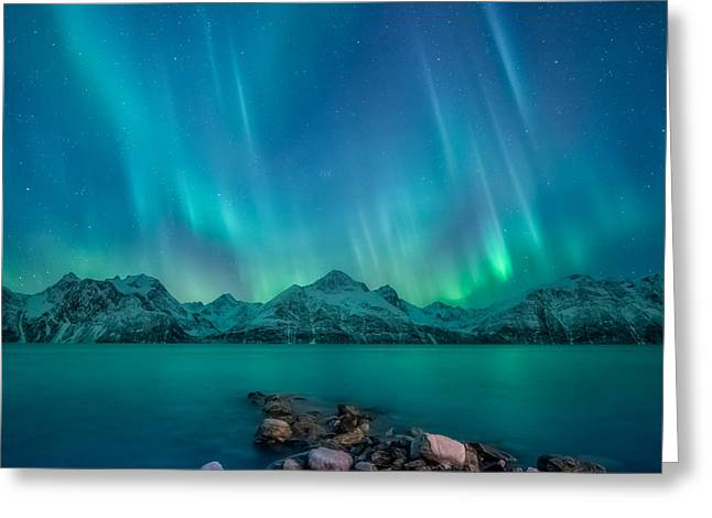 Emerald Sky Greeting Card by Tor-Ivar Naess