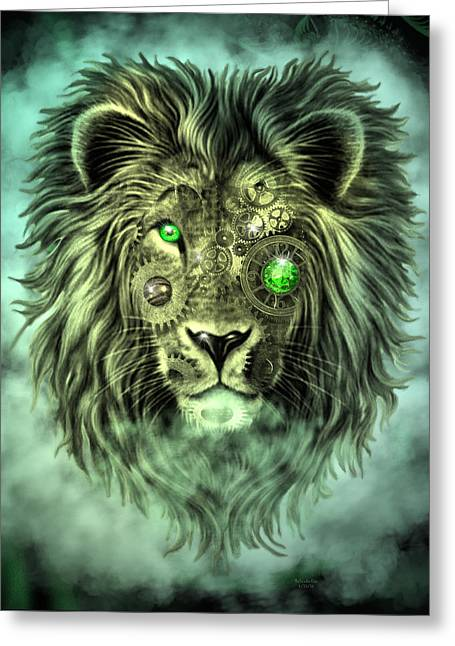 Emerald Steampunk Lion King Greeting Card