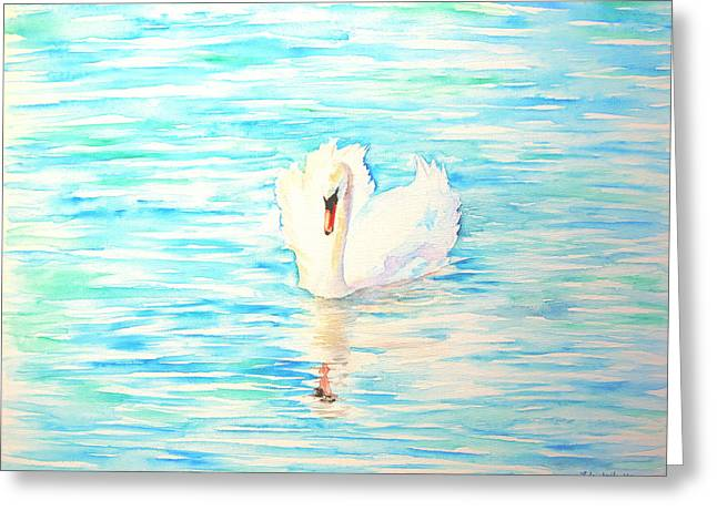 Emerald Swan Greeting Card