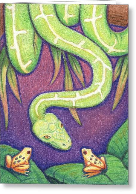 Emerald Tree Boa Greeting Card by Amy S Turner
