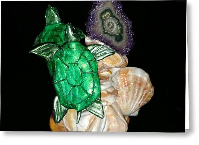 Emerald Turtles Greeting Card by Kirk Wieland