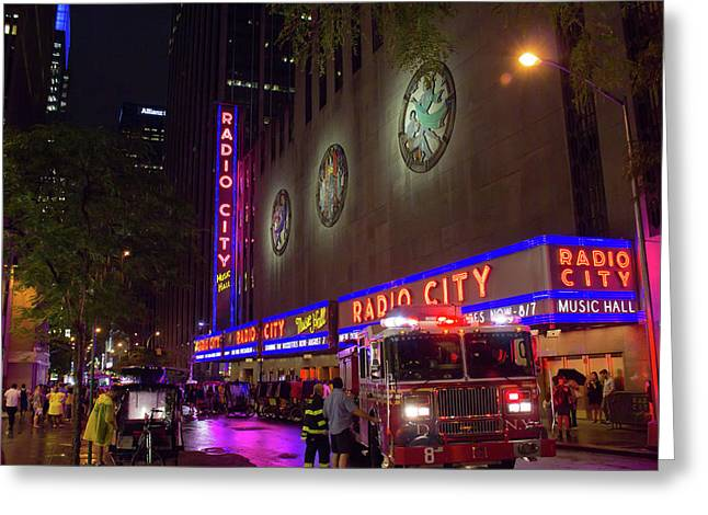 Greeting Card featuring the photograph Emergency At Radio City by RKAB Works