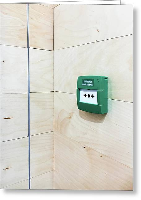 Emergency Door Release Greeting Card by Tom Gowanlock