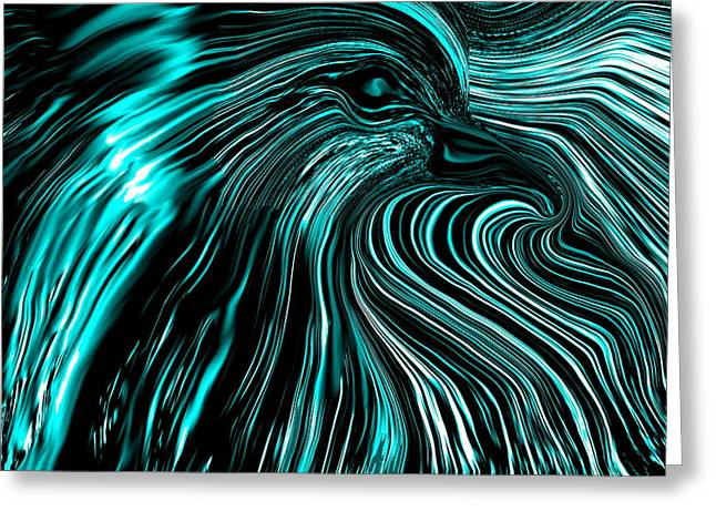 Emerging From The Black And Blues Greeting Card by Abstract Angel Artist Stephen K
