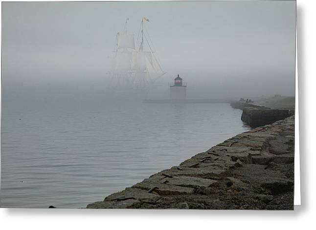 Greeting Card featuring the photograph Emerging From The Fog by Jeff Folger
