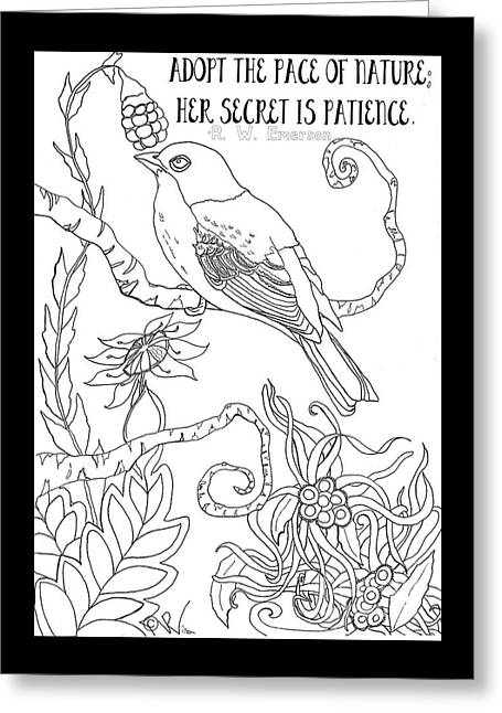 Emerson Quote Bird Nature Zentangle Art Greeting Card by D Renee Wilson