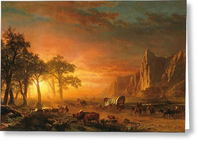 Emigrants Crossing The Plains - 1867 Greeting Card by Albert Bierstadt