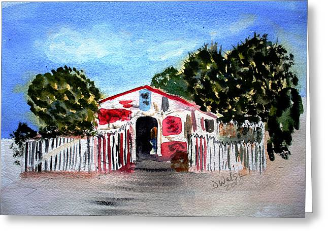 Greeting Card featuring the painting Emiles Road Side Grocer by Donna Walsh