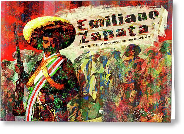 Mexican Revolution Greeting Cards - Emiliano Zapata Inmortal Greeting Card by Dean Gleisberg