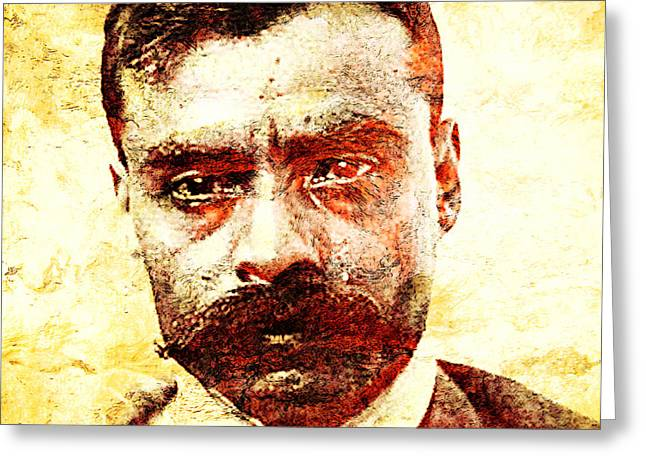 Mexican Revolution Greeting Cards - Emiliano Zapata Greeting Card by Jose Espinoza