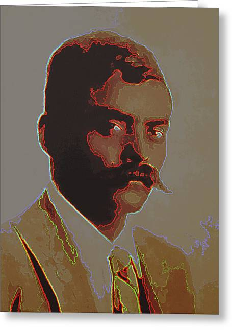 Emiliano Zapata Neon 2 Greeting Card by Totto Ponce