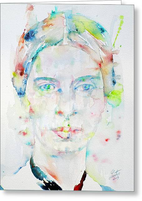 Emily Dickinson - Watercolor Portrait.2 Greeting Card