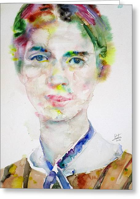 Emily Dickinson - Watercolor Portrait.3 Greeting Card