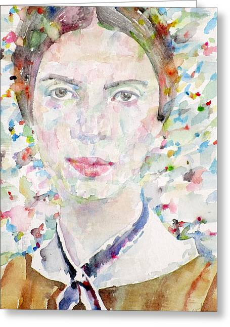 Emily Dickinson - Watercolor Portrait.4 Greeting Card