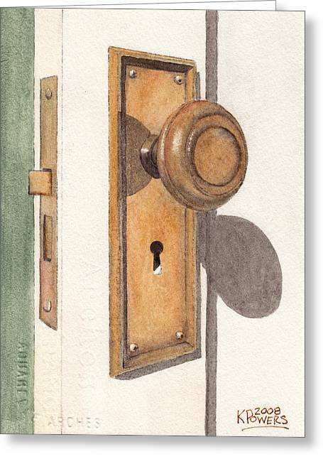 Emily's Door Knob Greeting Card by Ken Powers