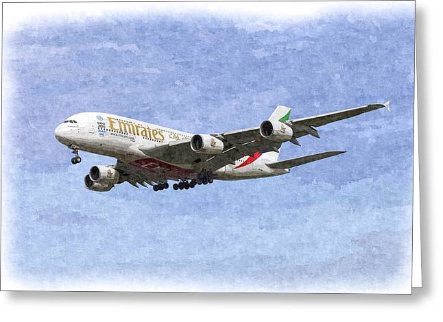 Emirates A380 Airbus Oil Greeting Card