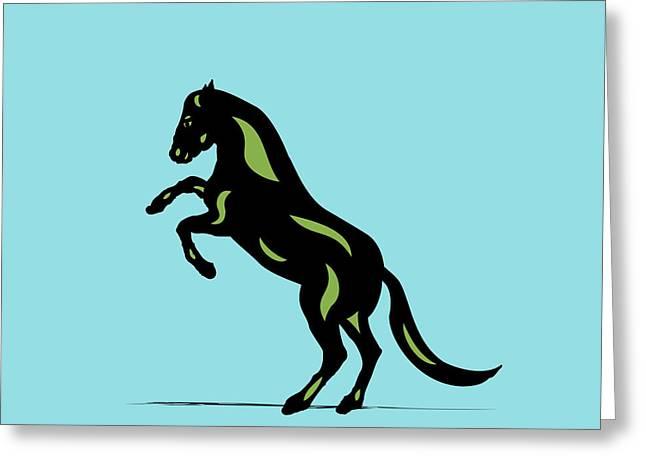 Emma - Pop Art Horse - Black, Greenery, Island Paradise Blue Greeting Card
