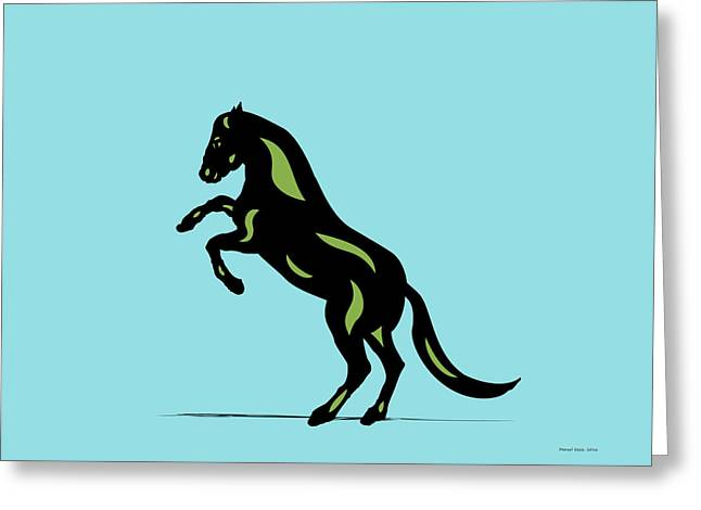 Emma - Pop Art Horse - Black, Greenery, Island Paradise Blue Greeting Card
