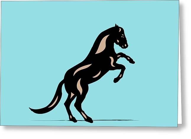 Emma II - Pop Art Horse - Black, Hazelnut, Island Paradise Blue Greeting Card