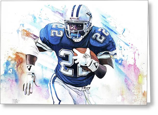 Emmit Smith In Watercolor By Michael Pattison Greeting Card