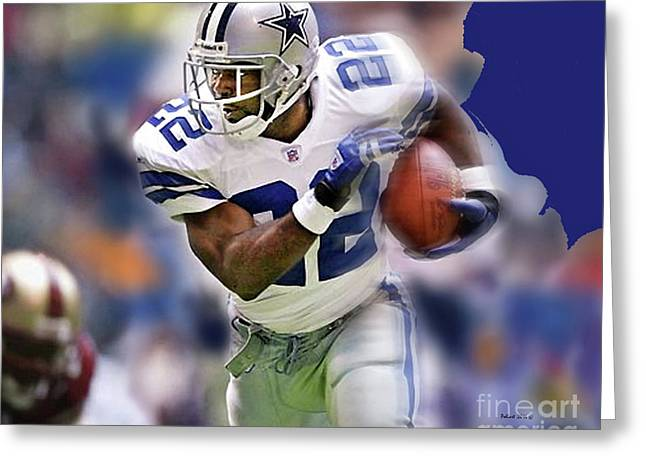 Emmit Smith, Number 22, Running Back, Dallas Cowboys. Greeting Card