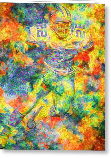 Emmitt Smith 22 Dallas Cowboys Digital Painting Yellow Greeting Card